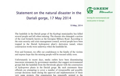 Statement on the natural disaster in the Dariali gorge, 17 May 2014