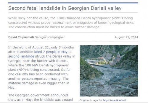 Second fatal landslide in Georgian Dariali valley