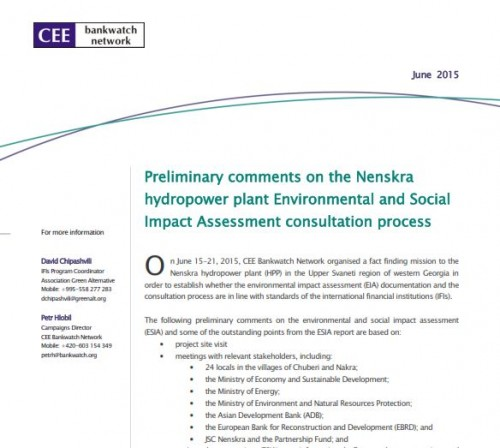 Preliminary comments on the Nenskra hydropower plant Environmental and Social Impact Assessment consultation process