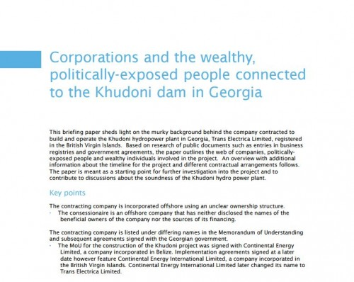 Corporations and the wealthy, politically-exposed people connected to the Khudoni dam in Georgia