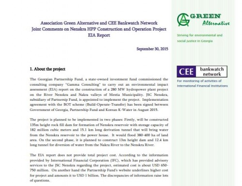 Association Green Alternative and CEE Bankwatch Network Joint Comments on Nenskra HPP Construction and Operation Project EIA Report