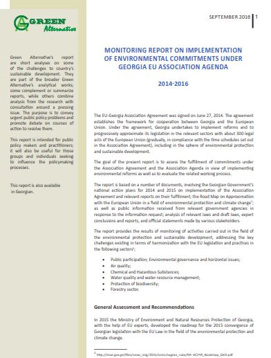 Monitoring Report on Implementation of Environmental Commitments under Georgia EU Association Agenda 2014-2016