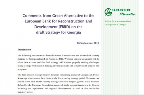 Comments from Green Alternative to the European Bank for Reconstruction and Development (EBRD) on the draft Strategy for Georgia