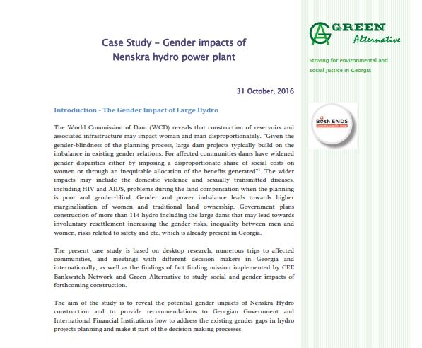 Case Study – Gender impacts of Nenskra hydro power plant