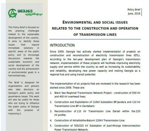 Environmental and social issues related to the construction and operation of transmission lines