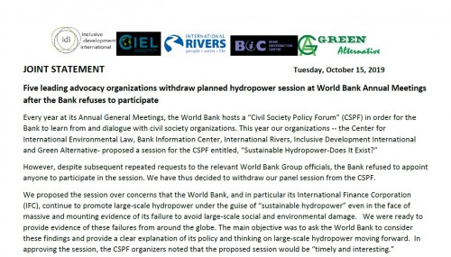 Five leading advocacy organizations withdraw planned hydropower session at World Bank Annual Meetings after the Bank refuses to participate