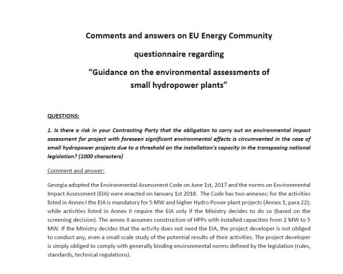 Comments and answers on EU Energy Community questionnaire